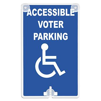 Accessible Voter Parking (With Handicap Access Symbol) Suction Cup Sign (Model 2060)
