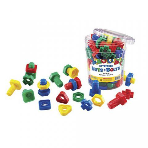Learning Resources Attribute Nuts and Bolts, Assorted Shapes/Colors, 64 Pieces