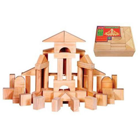 Melissa & Doug Standard Unit Blocks, Includes 60 Solid Wood Pieces