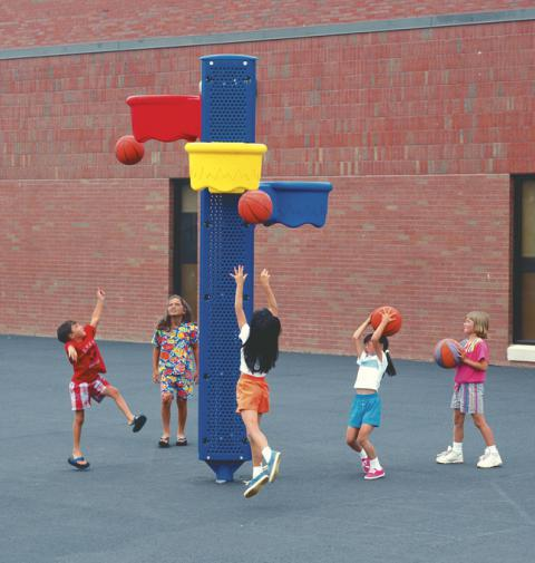 Playworld Systems Triple Shootout Hoops Game, 10 ft, Assorted Color