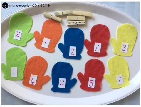 Mitten Match Number and Fine Motor Skills