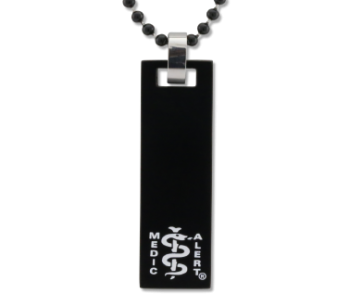 Slide Bar Black Medical ID Necklace